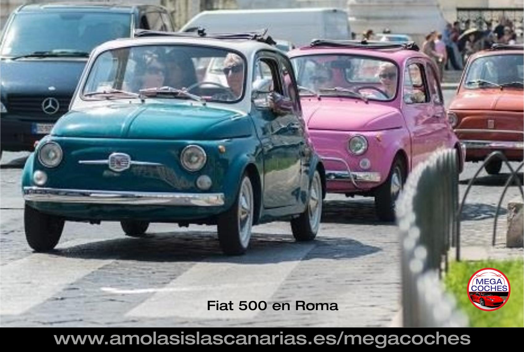 Fiat 500 en Roma desfile foto coche antiguo deportivo y de lujo mas caros del mundo vips Tenerife Islas Canarias